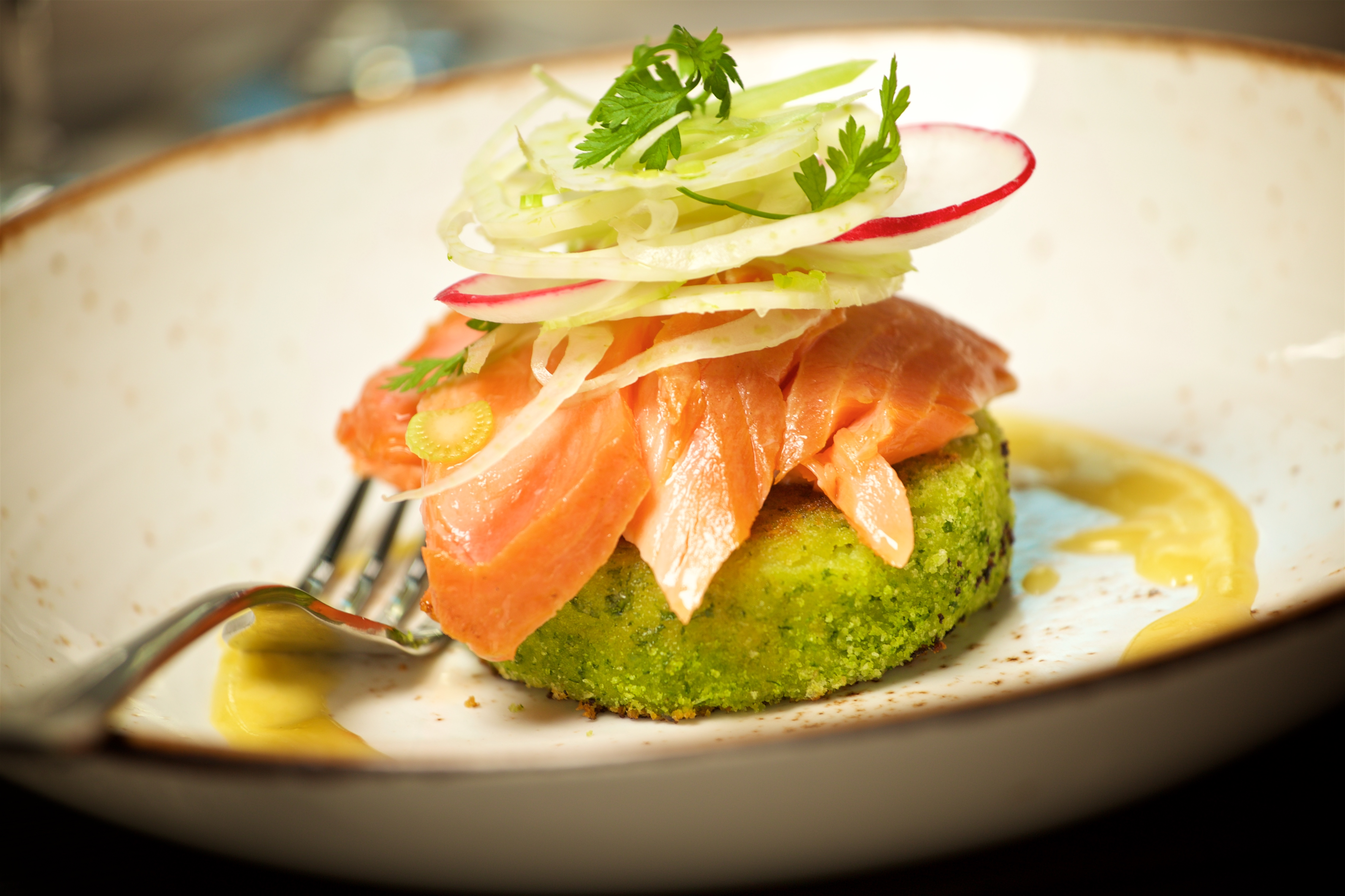Malborough smoked salmon fish cakes with fennel, celery and radish - Copperfields Main Meals