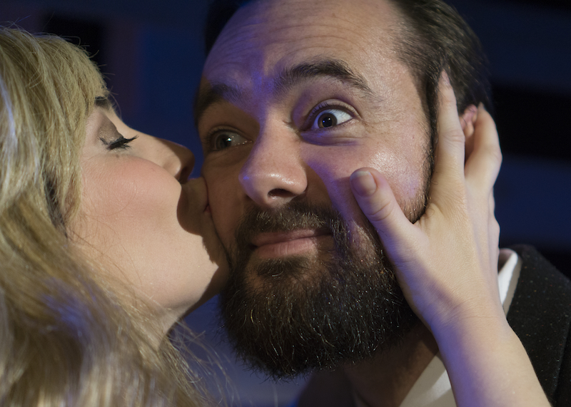 We could give you a big kiss! Richard Dey (Man) enjoys the affections of Amy Usherwood (Girl) in the 2015 production of 'Ache'.