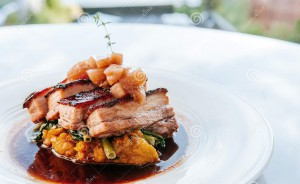braised-pork-belly-brown-sauce-vegetables-modern-chines-top-view-chinese-cuisine-fine-dining-restaurant-126707601