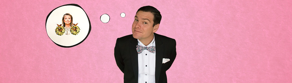 Actor Arthur Meek playing Richard Meros is pictured with a whimsical look on his face against a pink background. A thought bubble with a picture of Hillary Clinton with yellow flower wreathes either side of her is off to the left.
