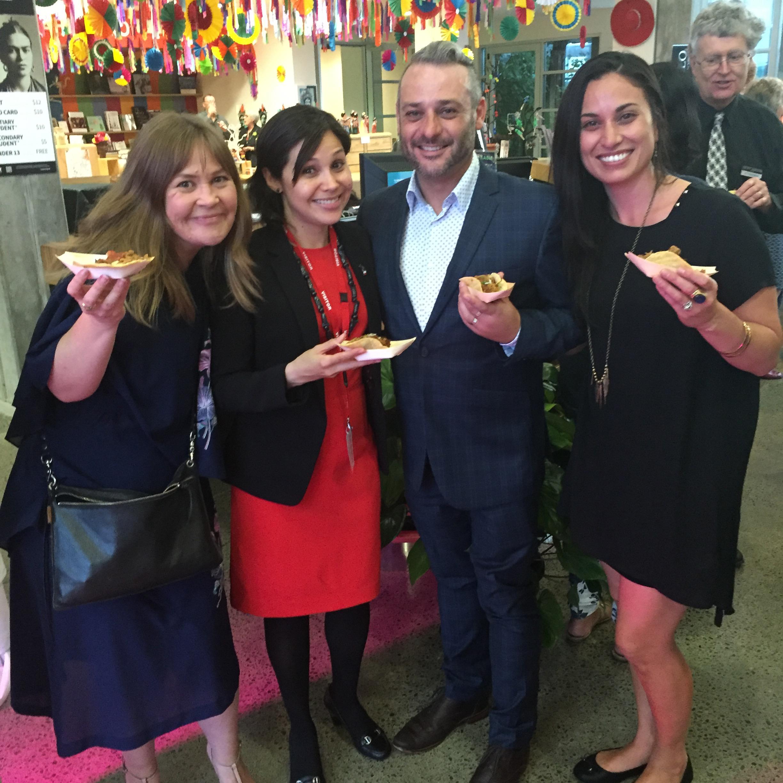 Te Manawa - Lyndee-Jane, Ian Harman Kali and Daniela Gil Sevilla, First Secretary, from the Mexican Embassy.