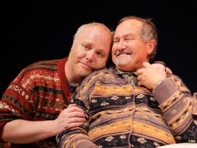 Elling and Kjell hugging.